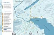Die bereits umgesetzten (grün markiert) und für 2019 geplanten Massnahmen (orange markiert) des Gesamtverkehrskonzepts in der Übersicht. Grafik: Stadt Luzern