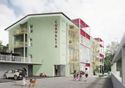 So soll das umgebaute Gewerbegebäude einmal aussehen. (Bild: Visualisierung: Archplan AG Architekten)