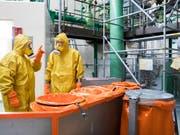 Zur Jahresrevision gehört auch, dass Angestellte in Schutzanzügen Bestandteile des Reaktors untersuchen und warten. (Bild: KEYSTONE/PETER KLAUNZER)