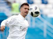 Lässt sich beim 3:0-Heimsieg von Dinamo Zagreb als Doppeltorschütze feiern: Mario Gavranovic (Bild: KEYSTONE/AP/ANTONIO CALANNI)