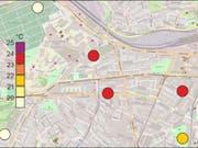 Die Karte zeigt die Lufttemperatur in Bern zwischen 22 Uhr am 31. Juli und 6 Uhr am 1. August 2018. (Bild: Universität Bern, Geographisches Institut)