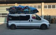 Der Minivan des Griechen bei der Luzerner Polizei. (Bild: Luzerner Polizei)