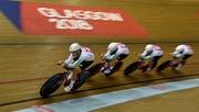 Das Schweizer Team im Sir Chris Hoy Velodrome in Glasgow. Bild: Keystone.