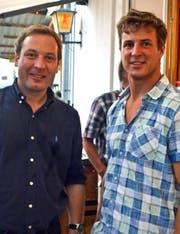 Nationalrat Lukas Reimann (links) und Gemeinderat Thomas Wäspe. (Bild: Peter Jenni)