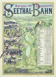 Dieses Plakat der Seethalbahn wirbt nicht nur für den Tourismus, sondern liefert auch den Fahrplan mit. (Bild: PD/1884)
