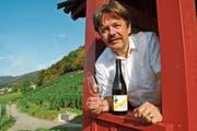 Vom Räbahüttli überblickt Armin Lutz, Präsident Rheintalwein, beste Lagen für den Balger Wein. (Bild: Hildegard Bickel)