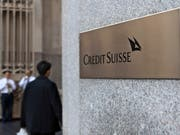 Eingang zum Credit-Suisse-Gebäude in New York. (Bild: KEYSTONE/MARTIN RUETSCHI)