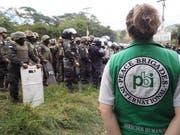 Ein Mitglied der «Peace Brigades» bei einer Demonstration während der Wahlen in Honduras. (Bild: PD)