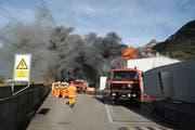 Ebenfalls 2012: Der Grossbrand des Biomassekraftwerks Green Power Uri in Altdorf. (Bild: Bruno Achermann)