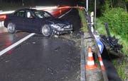 Fahrzeugheck auf regennasser Fahrbahn ausgebrochen: Beim Selbstunfall auf der A14 gab es lediglich Sachschäden. (Bild: PD)