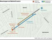 Für die neuen Veloplätze wollen die SBB den Durchgang zum Posttunnel auf Seite der Zentralstrasse öffnen. Zu sehen sind die geplanten Änderungen, die das Parlament Ende September 2017 zurückwies.