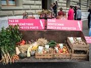 Gentech-kritische Organisationen überreichen in Bern Obst, Gemüse - und eine Petition. Sie fordern, dass neue Verfahren dem Gentechnikgesetz unterstellt werden. (Bild: KEYSTONE/PETER SCHNEIDER)