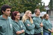 Einige Delegierte des Europäischen Jugendparlaments (von links): Romain Prina, Nina Steffen, Roxane Frund, Jannis Brombacher und Rebekka Sohns. (Bild: PD/Elena Ignatiadou)