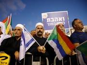 Drusischer Protest in Tel Aviv. (Bild: KEYSTONE/EPA/ABIR SULTAN)