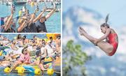 Preisrichter (oben) und Zuschauer (unten) beobachten die Kanadierin Lysanne Richard beim Sprung. Bilder: Pius Amrein (Sisikon, 4. August 2018)