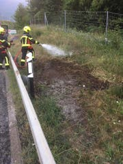 Die Feuerwehrleute wässern bei der Autobahnausfahrt Goldau dem Boden. (Bild: Kantonspolizei Schwyz)