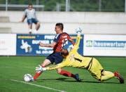Florian Müller, hier im Spiel gegen Breitenrain Bern im vergangenen Mai, skorte für die Chamer in der 56. Spielminute. Archivbild: Stefan Kaiser