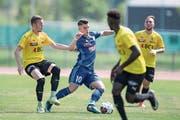 Dribbelstark und Torschütze zum entscheidenden 3:1: FCL-U21-Mittelfeldspieler Lorik Emini gegen Bassecourt im Leichtathletik-Stadion. (Bild: Pius Amrein (Luzern, 5. August 2018)