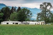 Fahrende aus Frankreich logierten im Mai während drei Wochen auf dem Littauerberg. (Bild: Boris Bürgisser (Littau, 14. Mai 2018))