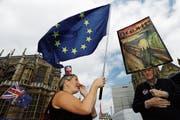 Manche Briten demonstrieren auch zwei Jahre nach dem Brexit-Votum gegen den EU-Austritt. (Bild: Luke MacGregor/Bloomberg (London, 20. Juni 2018))