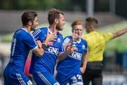 Der Präsident hofft, auch diese Saison wieder die Aufstiegsspiele zu erreichen. Im Bild der FC Gossau im Aufstiegsspiel gegen den FC Münsingen im vergangenen Jahr. (Bild: Michel Canonica, 3.Juni 2017)