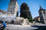 Die Arboner Schlossmauer ist in einem schlechten Zustand und wird saniert. (Bild: Reto Martin)