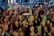 Unterstützer von Ex-Präsident Lula da Silva in São Paulo. (Bild: Patricia Monteiro/Bloomberg; 4. August 2018)
