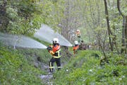 Die Feuerwehr Engelberg bei einer Waldbrand-Übung im Jahr 2017. (Bild: PD)