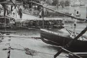 Zerstörungen an der Hafenanlage in Weggis. Bild: Verein historisches Archiv Weggis