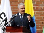 Keine Drohnen am Himmel bei seiner Amtseinführung: Kolumbiens neuer Präsident Iván Duque übernimmt das Amt am Dienstag bei einer Feier. (Bild: KEYSTONE/EPA EFE/LEONARDO MUNOZ)