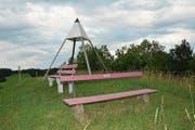 753 Meter ist die Erhöhung Kapf. Darauf befinden sich zwei Bänkli und der Triangulationspunkt im Hintergrund. (Bild: Beat Lanzendorfer)