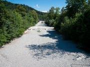 Die beklemmenden Bilder der ausgetrockneten Töss täuschen: Der Fluss ist - wie so oft - versickert und fliesst als Grundwasserstrom nach Winterthur. (Bild: KEYSTONE/MELANIE DUCHENE)