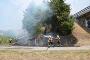 Die Feuerwehrleute brachten den Brand rasch unter Kontrolle. (Bild: Kapo SG)