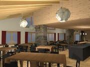 So soll das Restaurant im ehemaligen Schützenhaus Espen in Engelberg künftig aussehen. (Visualisierung: PD)