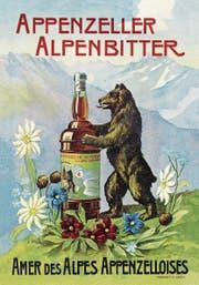 Auch Bären stehen offenbar auf das Bittergetränk. Das älteste noch vorhandene Werbeplakat für Appenzeller Alpenbitter stammt aus dem Jahr 1921. (Bild: PD)