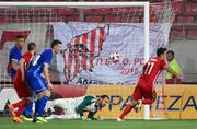 Lazaros Christodoulopoulos erziehlt die ersten beiden Tore gegen den FC Luzern. (Bild: Martin Meienberger, Piräus, 9. August 2018)