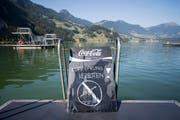 Aus Sicherheitsgründen ist im Seebad von Seewen der Kopfsprung in den See verboten, am Dienstag, 31. Juli 2018. (Bild: Keystone/Urs Flüeler (Seewen, 31. Juli 2018))