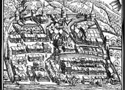 Ansicht der Stadt Zug in der Chronik des Johannes Stumpf 1547. Der Geissweidturm ist der Rundturm am linken Bildrand. Bild: PD