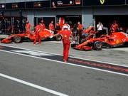 Kimi Räikkönen und Sebastian Vettel stehen in Monza in der ersten Reihe (Bild: KEYSTONE/AP/LUCA BRUNO)