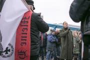 Bernhard Schaub auf einer Kundgebung im Februar 2017 in Dresden. (Bild: Antifaschistisches Nachrichtenportal Niedersachsen)