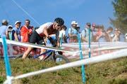 Reto Indergand hatte während des Rennens Probleme mit dem Reifendruck. (Bild: Roland Jauch, Lenzerheide, 8. September 2018)