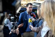 Jimmie Åkesson, Präsident der Schwedendemokraten, am Montag in Stockholm. (Bild: Henrik Montgomery/AP (Stockholm, 10. September 2018))