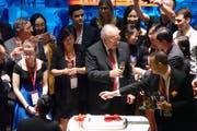 Ein gern gesehener Gast in China: Johann Schneider-Ammann bei der Feier zum Zehn-Jahr-Jubiläum des Netzwerks Swissnex China.Bild: Erwin Lüthi (Shanghai, 7. September 2018)
