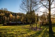 Die Hochhüsliweid mit Holzhütten und Spielplatz im Würzenbachquartier Luzern. (Bild: Philipp Schmidli, 22. November 2017)