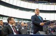 Viktor Orbán während seiner Rede im EU-Parlament in Strassburg. (Bild: J.-F. Badias/AP (11. September 2018))