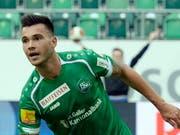 Goran Karanovic war 2015 vierfacher Torschütze für St. Gallen gegen den FC Aarau, bevor er in die französische Ligue 1 wechselte. (Bild: KEYSTONE/WALTER BIERI)