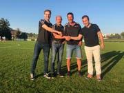 Teil des WM-Zelt-OK: Marius Derungs, Peter Sandmeier, Mitsch Badertscher und der Präsident des FC Wängi, Toni Sopi. (Bild: PD)