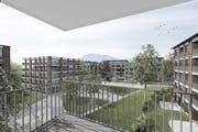 Eine der 150 geplanten Wohnungen mit Blick auf den Pilatus. (Visualisierung: PD)