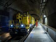 Im Gotthard-Basistunnel hat der Wartungszug wegen einer defekten Fahrleitung ausrücken müssen. (Bild: Keystone/TI-Press/Gabriele Putzu)