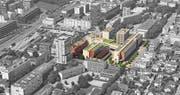 Die Luftaufnahme zeigt das Geviert (farbig) im Guthirt-Quartier: Im hinteren Bereich links soll das Hochhaus entstehen. (Bild: PD/Stadt Zug)